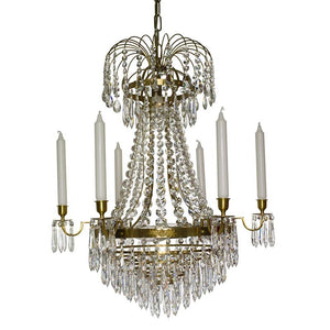 Light Brass Empire 6 arm chandelier with crystal drops