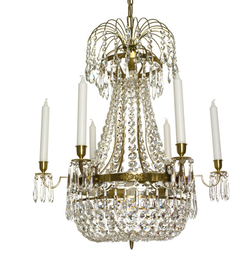 Light Brass Empire 6 arm chandelier with crystal octagons