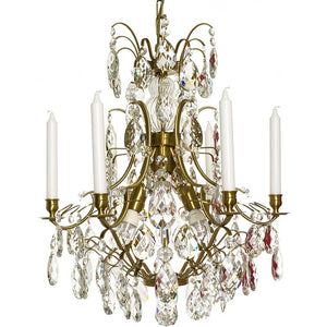 Baroque style chandelier with almond crystals