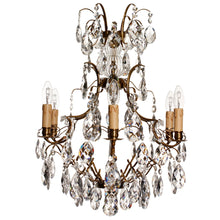 Baroque style chandelier with almond crystals and 6 electric lights