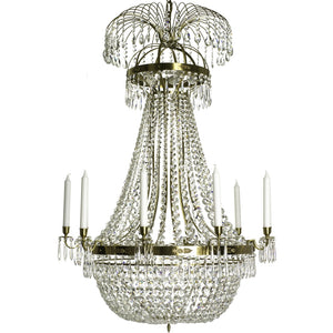 Light brass Empire 10 arm chandelier with crystal octagons