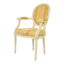 Oval Wooden Upholstered Armchair