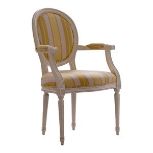 Oval Wooden Upholstered Armchair - detail