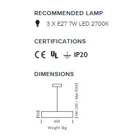 Glasgow single pendant light - measurements