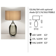 Vento Glass Lamp With Black Bronze Metal Work and Silk Shade - measurements