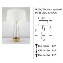 Stockholm Solid Brass Lamp With Glass - measurements