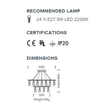 Custom filament suspension light - measurements