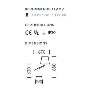 Adjust black bronze table light - measurements