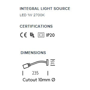 Brushed nickel LED reading light - measurements