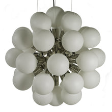 Modern Glass Chandelier in nickel plated brass