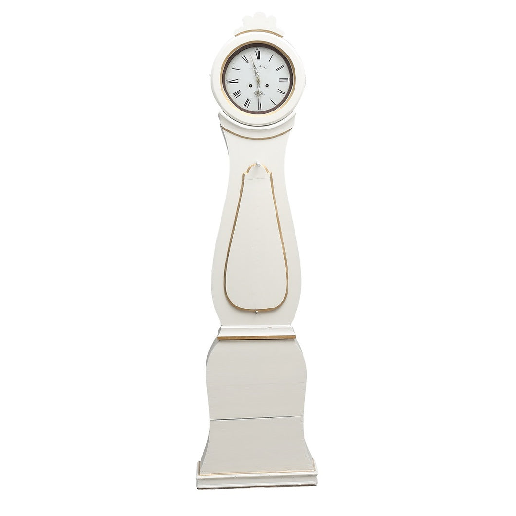 Mora Clock in antique white with gold detailing