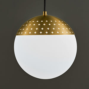Bushed brass light with a single opal globe  - detail