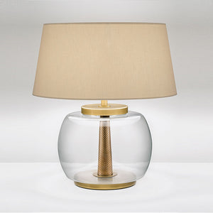 Oslo clear rounded glass with English brass lamp with shade - detail
