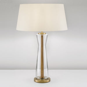 Oslo clear glass with English brass lamp with shade - detail