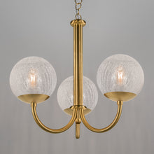 Brushed Brass Pendant Light with Opal Cracked Glass Globes - detail