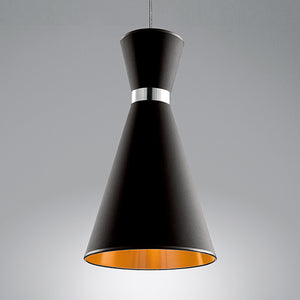 Black and copper pendant light - detail