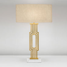 Provence brushed brass table lamp with shade - in situ