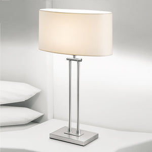 Plaza brushed nickel table lamp with shade - details