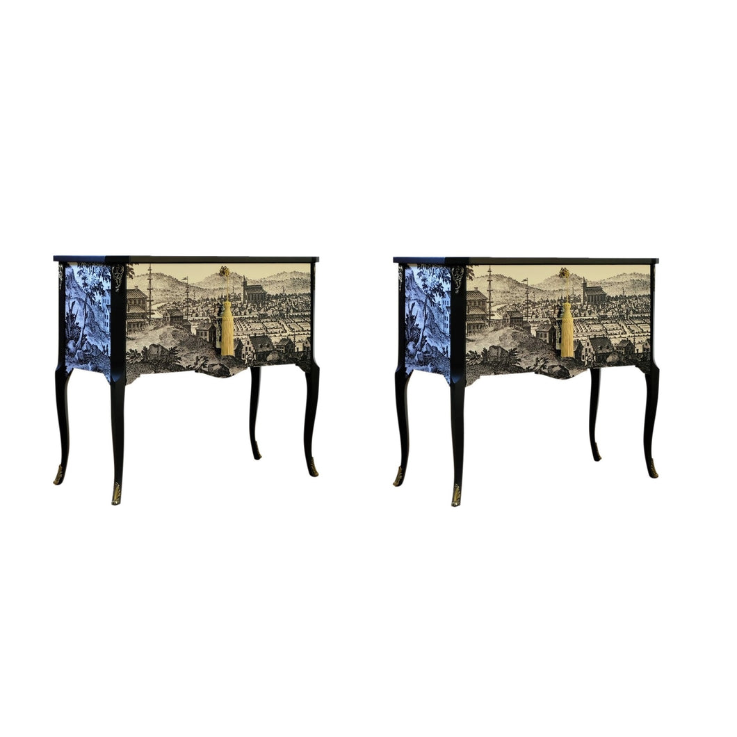 Gustavian Commode With 17th Century Print (A Pair) (DaVinci)