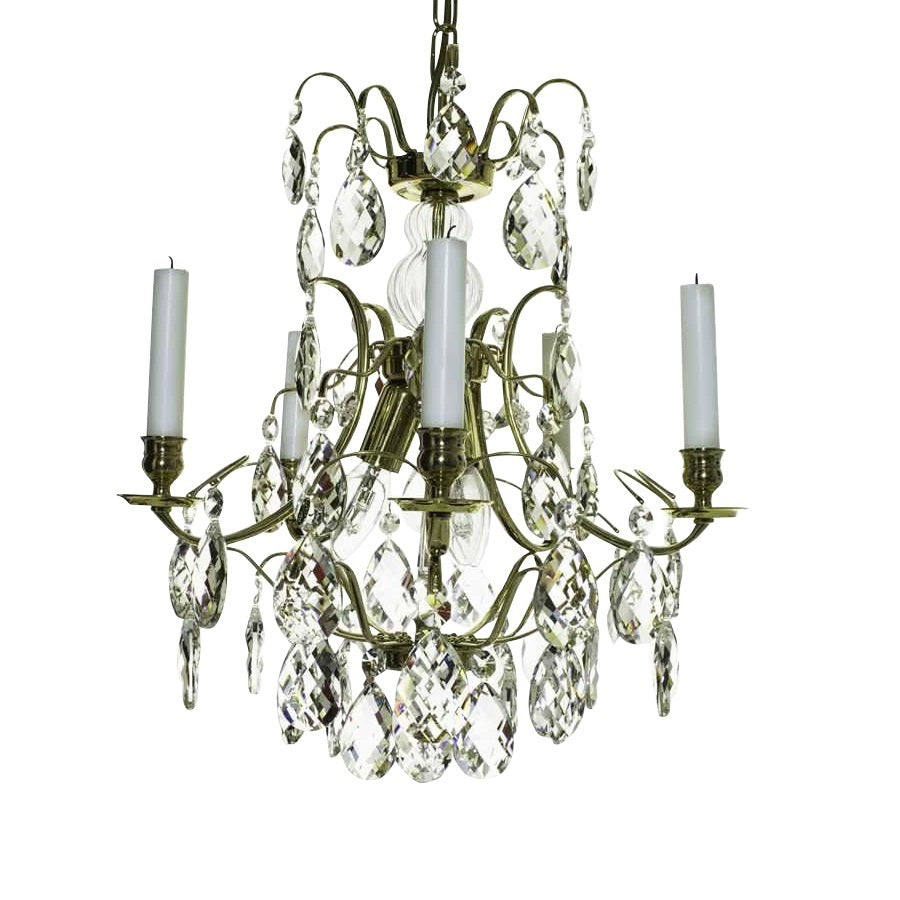 Baroque style chandelier with clear almond crystals