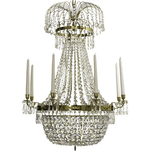 Polished Brass Empire 8 arm chandelier with crystal basket bottom