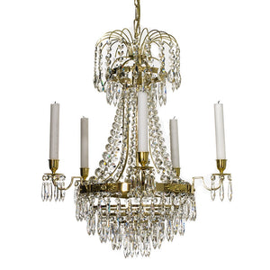 Polished Brass Empire style 5 arm chandelier with crystals