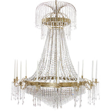 Polished brass Empire style chandelier with 14 arms and crystal octagon