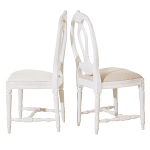 Set of 10 Single Rose Bud Gustavian Chairs