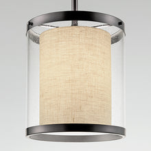 Black bronze light with an outer seed glass shade  - detail