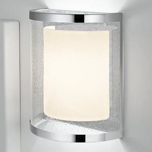 Curved polished chrome wall light with internal shade - detail