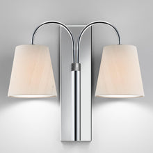 Shatersbury double wall light in polished chrome - detail