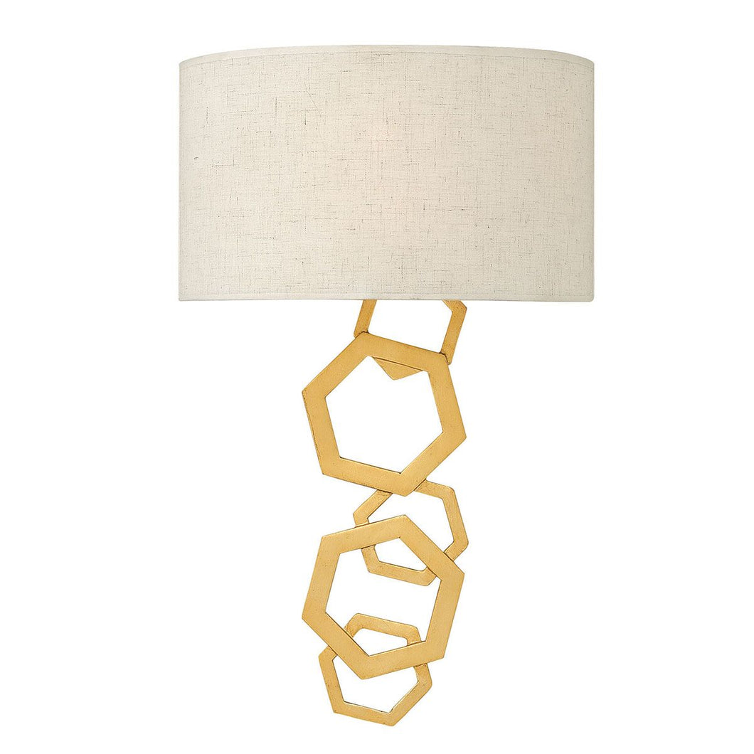 Hexagon gold wall light