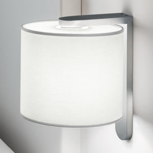 Aluminium wall light with cotton shade - details
