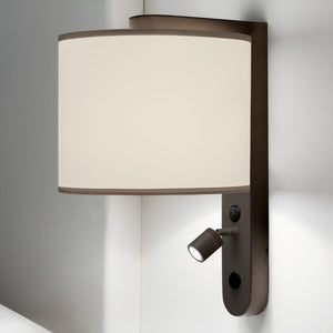 LED penny bronze wall light with shade - details