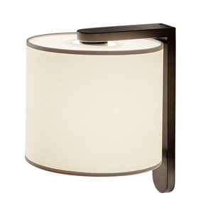 Penny bronze wall light with cotton shade