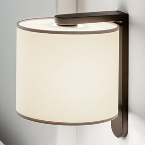 Penny bronze wall light with cotton shade - details