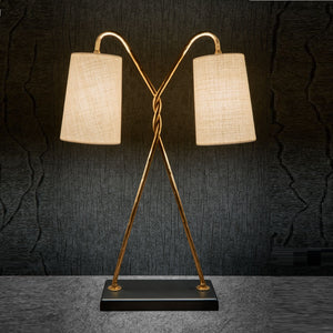 Florentine antique gold leaf table lamp with shade - further detail