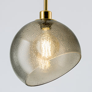 Brushed brass light with smoke coloured glass - details