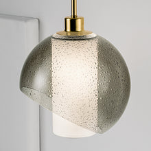 Smokey coloured pendant light with oyster coloured shade - detail