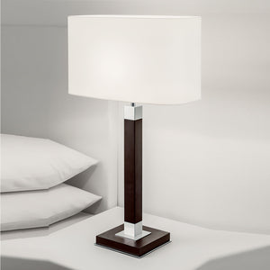 Polished chrome and chocolate wood table lamp - details