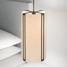 Penny bronze and linen pendant light - details