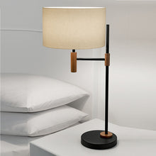 Satin black and walnut table lamp  - detail