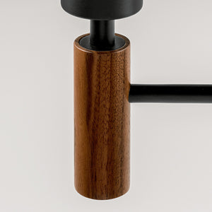 Satin black and walnut wall light with shade - detail