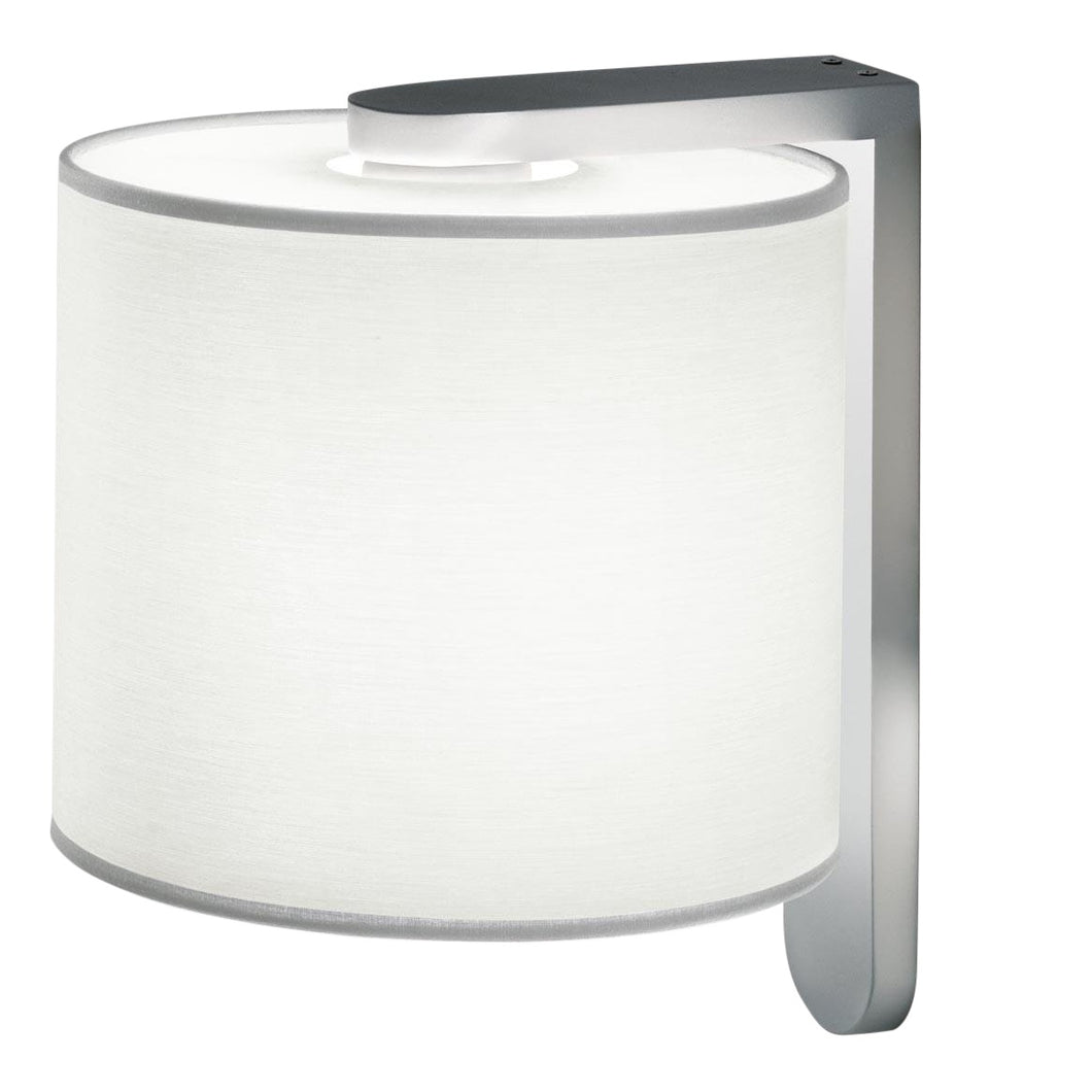 Aluminium wall light with cotton shade