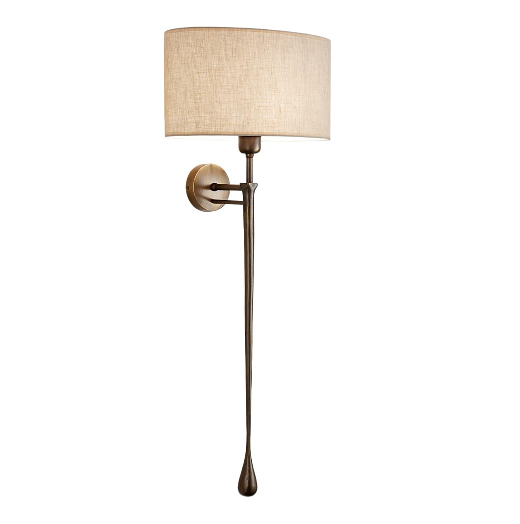 Antique bronze wall light with shade