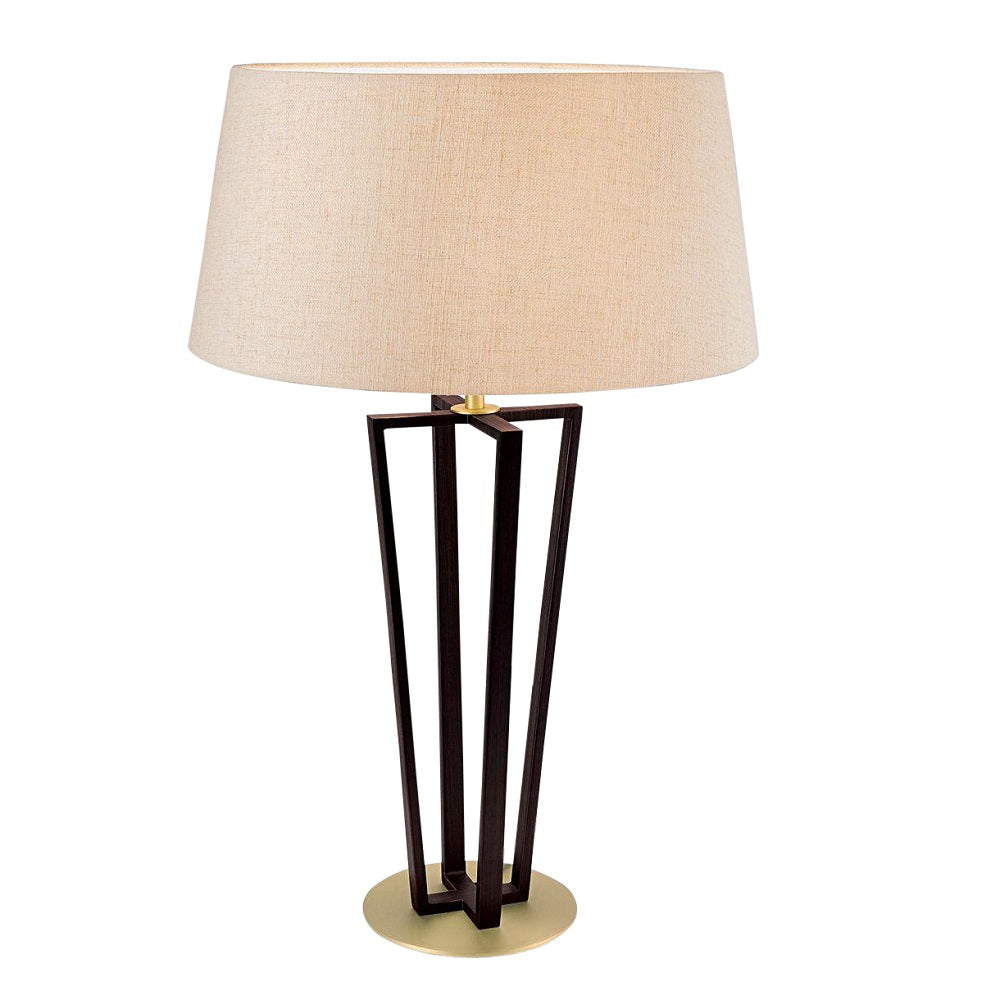 Black bronze with antique brass accents table lamp and shade