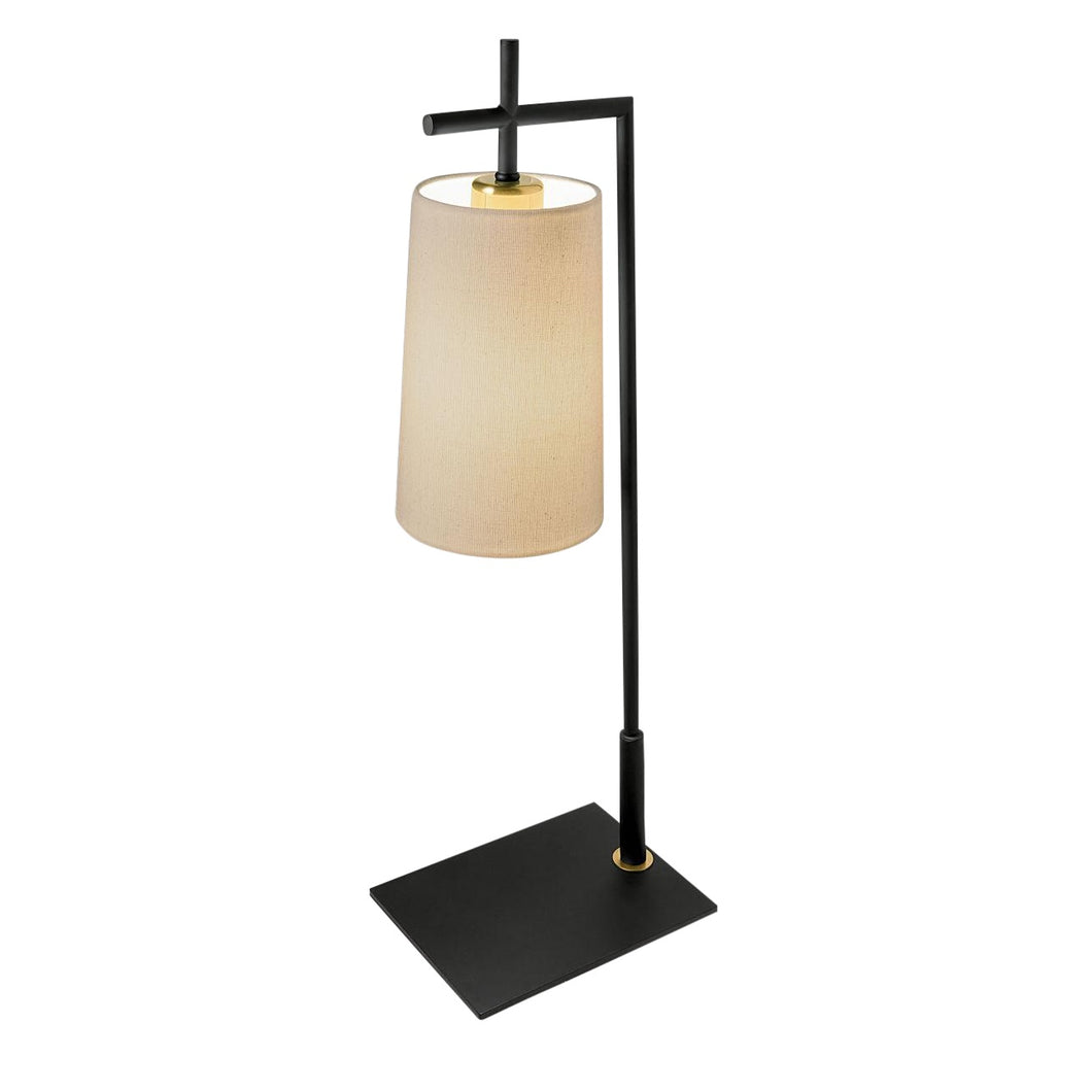 Brushed bronze and satin black lamp with tapered shade