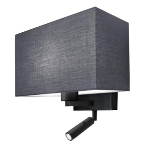 Combination wall light with LED reading light in satin black