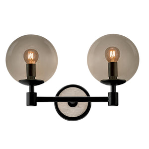 Lunar double wall light - satin black and smokey glass