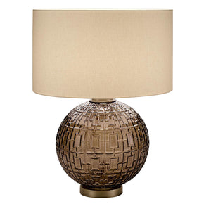 Mocca glass with golden bronze table lamp and shade